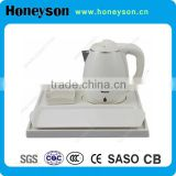 hotel guest supply high quality 1.2L electric plastic kettle with 100% melamine tray set