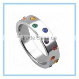 Gay Pride Wedding Band Rainbow stainless steel ring Colored Stones