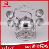 2016 NEW STYLE STAINLESS MINI TEA SET TOYS FACTORY DIRECT SALE SAFE CHILDREN TEAPOT SAUCER SPOON CUP SETS