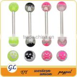 Double Resin Ball Tongue Piercing Barbell Ring,Custom Tongue Rings with Skull Printed