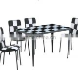 1+4 black and white glass dining room furniture sets