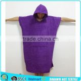 Cotton Terry purple color Surf Changing Hooded Adult Towel poncho on beach/ adult poncho hooded towel