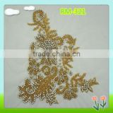 2015 Newest sew on gold bead applique with rhinestone                                                                         Quality Choice