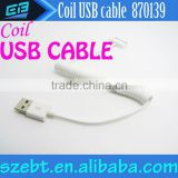 Spiral Coiled USB 2.0 A Male to Micro USB B 5Pin Adaptor Spring Sync Data Charger Cable Black/White