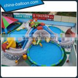 Giant inflatable ground water park/ inflatable cartoon water play equipment with huge slide and pools