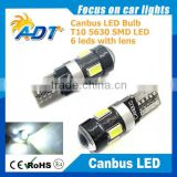 Hot sale T10 194 168 W5W 5630 LED 6 SMD White auto led interior light with Canbus Error Free