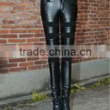 New Hot sale Sexy Black PU Leather Look Skinny Slim Women's Trousers Slim Pants with net M9074