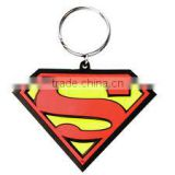 superman logo soft PVC keychain with two-sided