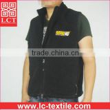Wenzhou OEM factory direct sell high quality embroidery black men vest jacket fleece with zipper pockets for promotion(LCTU0050)