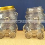 Food Use and Eco-Friendly Feature glass storage jar in bear shape glass jar 350ml/glass bear shape jar