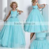 2013 new beaded ruched ball gown skirt sky blue flower girl pageant dresses CWFaf5258