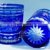 Art carved high quality stock sandblasting drinking glass cup/hand cut glass tumbler whisky glass in stock