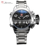 Shark Silver Steel Digital Analog Day Date Alarm Mens Sports LED Wrist Men Watch