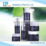 Fashion design cosmetic black glass bottle and face cream glass jar for cosmetic packaging