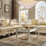 French Rococo 24K Gold Plated Living Room Wooden Genuine Leather Sofa Set/Golden Color Sectional Sofa (MOQ=1 Set)