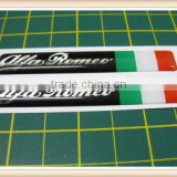 2 Domed stickers with an Italian Flag Red/Silver 80mm x 12mm