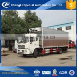 Dongfeng 6 wheeler 4*2 stainless steel frozen food meat hanging refrigerated truck body for sale