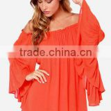 women Sexy Maxi Casual Vestidos Rust Orange Off The Shoulder Long Ruffle Bell Sleeve Chiffon Tube Mini Dress Slub cotton dress