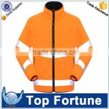 orange high visibility fleece jacket ,3m reflective safety jacket,reflective security fleece jacket