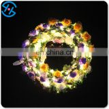 Flashing light up Plastic rose crown garland flower