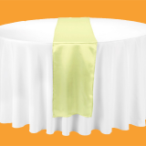 polyester wedding tablecloth and satin table runner in colors