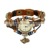 Euramerican style elegant popular winding leather watch bracelet alloy wood assorted bracelets