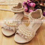 Wholesale baby girls shoes beige and pink with pearl baby girls dress shoes kids sandals
