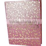 Gold Embossed Flowers Art Paper Wrapping Ring Binder Desktop File Folder for Office Stationery Cardboard A4 or FC Size