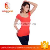 Hongxiang Professional Factory designer 80% cotton and 20% Polyester lace T-shirt for women 12color