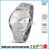 Build your watch brand easily slim line stainless steel promotional watch full steel genuine leather strap