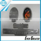 Custom wine bottle metal label self-adhesive aluminum sticker labels bottle labels metal logo plate
