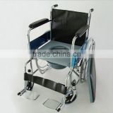 chromed steel commode wheelchair with toilet / wheelchairs with bedpan