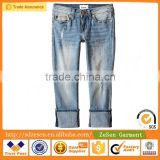 Blasted Blue Crop Jeans China Wholesale Clean Apparel For Kid