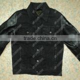 Denim Biker Jacket With Leather Sleeves and inside 100% DuPont Stretchable Kevlar On Back Body