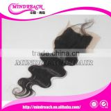 Cheap stock silk base lace closure 3 part silk closure with baby hair virgin Brazilian hair silk base closure wholesale