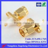 Reverse Polarity SMA male body with female pin solder straight micro strip 2 hole flange mount