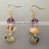 Unique handmade jewelry-natural crystal quartz nugget citrine quartz phrenite and amethyst quartz nugget beads earring for women
