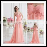 Real Sample One-Shoulder A-line Empire Floor Length Lace Applique Beaded Pink Prom Dress xyy07-054