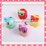Cute Owl plastic money box, promotion gift Cute Owl plastic money box, custom OEM money box Shenzhen production