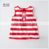 100%cotton children vest applique flower kids vest stripe kids light tank top made in china