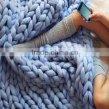 Chunky Knit Merino Wool Throw Blanket