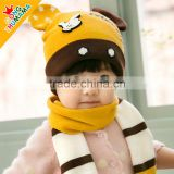 MZ3124 New Kids Infant Winter Christmas Warm earmuffs Knit Hat Baby Cap+Scarf