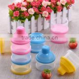 Promotion Bpa free non-toxic 3-layers plastic baby milk powder container portable powder box