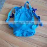 custom popular plain canvas outdoor drawstring backpack / double nylon strings bag with China knots