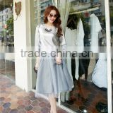 Made In China Spring and summer peach chiffon dress