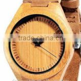 high quality fashion green maple wood watch Japan Miyota movt leather strap bamboo wooden watch