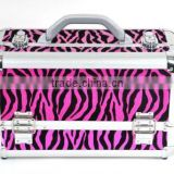 "15"" Aluminium Train Professional Cosmetic Makeup Hard Case Box Zebra Pink 3-Tray(XY-312)"