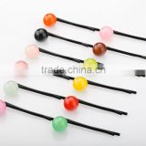 Girls plastic hair accessories candy color bead hair pin kids black metal hair pin