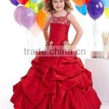 Free shipping beaded red ruched ball gown skirt custom-made pageant kid dress CWFaf4453