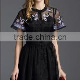 Pretty Steps 2016 elegant ladies vintage organza dress new woman summer embroidered dress sexy black short sleeve organza dress